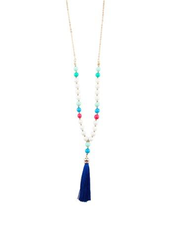 撞色流蘇多色珠子esprit hk分店墜飾項鍊, 飾品配件, 項鍊