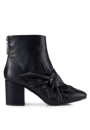 ZALORA black Bow Ankle Boots E092FZZD8D23C8GS_1