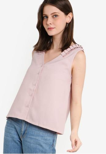 ZALORA 粉紅色 褶飾上衣 12B6EAA361DFBCGS_1