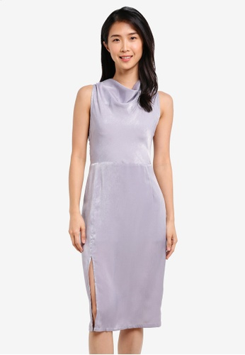 Preen & Proper grey Draped Neckline Sheath Dress PR614AA0S9VBMY_1