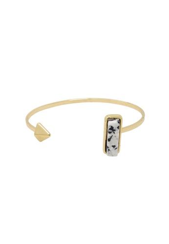 Jaysa Collection gold Avant Garde White Marble Cuff Bracelet JA875AC0GWT5SG_1