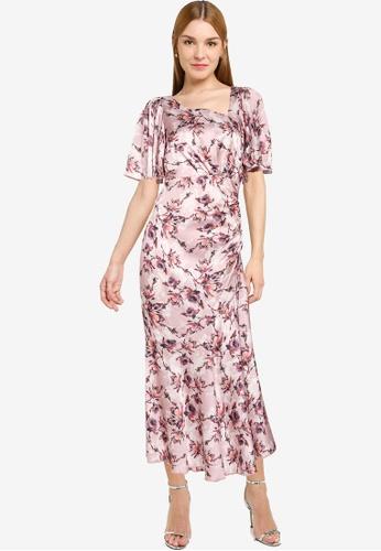 Little Mistress pink Mink Floral Midaxi Dress 0747DAA72AC8E9GS_1