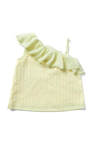 Vauva yellow Vauva Hauska Girls Scollop Shoulder Design Top - Yellow F1F52KAE22538CGS_1