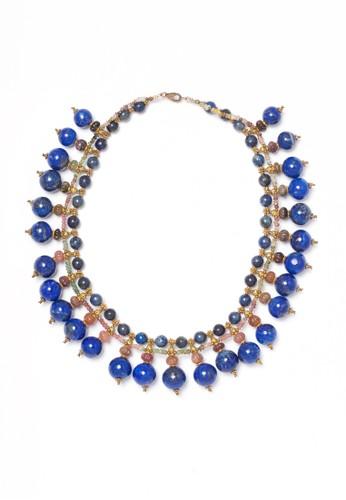 Celline Silver blue Lapis and Tourmaline Necklace AB075AC42B6C86GS_1