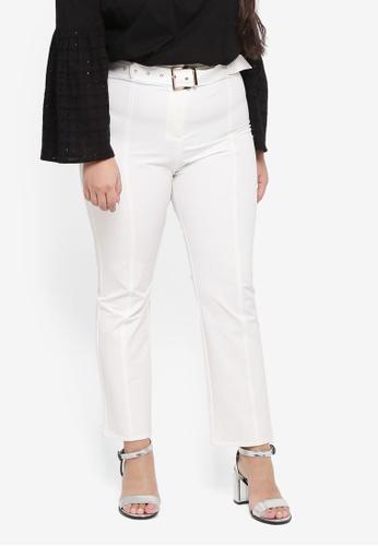 ELVI white Plus Size Koucha Cigarette Trousers With Belt 5411BAAD5460B5GS_1