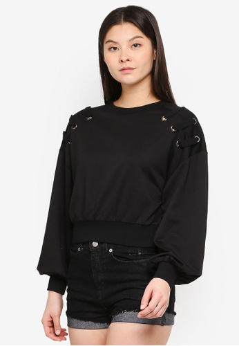 Something Borrowed black Lacing Detail Relaxed Sweater D5DE3AAF43BDE8GS_1