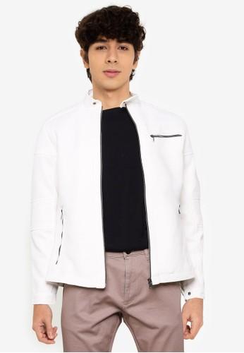 LC Waikiki white Slim Fit Biker Collar Jacket 421C8AA8B1FB5CGS_1