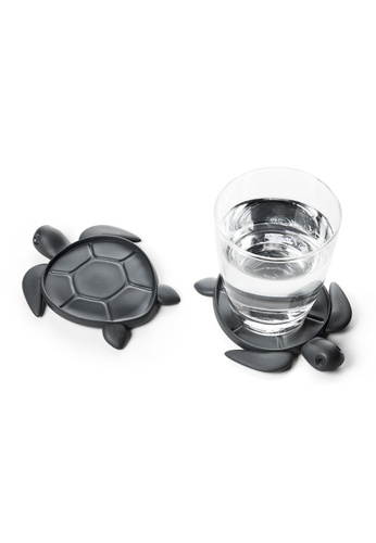 Qualy Save Turtle - coaster made from recycled plastic (Dark Grey) 6296EHLE2668FAGS_1