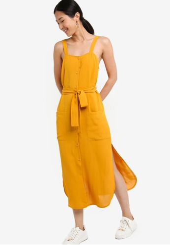 ZALORA BASICS yellow Basic Midi Utility Dress With Tie C1743AAB05AA46GS_1
