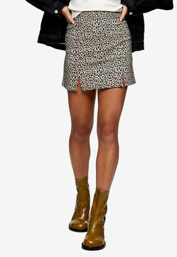 TOPSHOP brown PETITE Leopard Print Stretch Mini Skirt 3B08BAAAC86B93GS_1