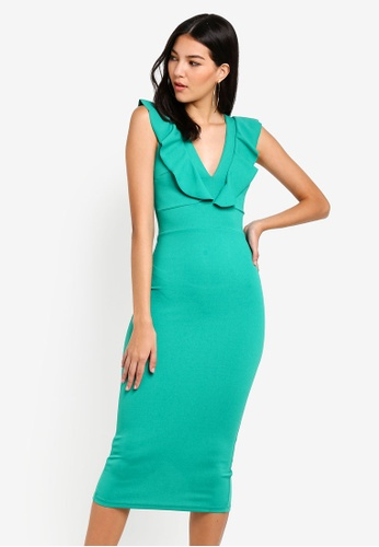 WALG green Fitted Midi Dress With Soft Ruffle 1284CAADE5C27CGS_1