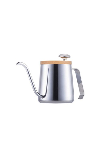 A-IDIO A-IDIO Swan-Neck Kettle - Pour Over Coffee Kettle and Thermometer Set (Silver) 433F2HLD2A91F0GS_1