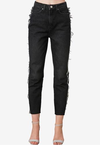 Trendyol black Side Tassel Detail High Waist Mom Jeans 234E1AA5FEF718GS_1