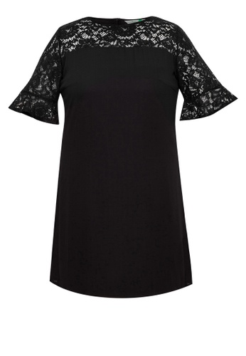 Curvy black Plus Size Ruffle Sleeve Lace Dress 3FD2EAAA009F86GS_1