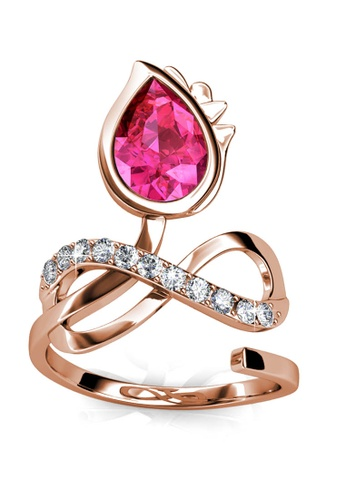 Her Jewellery gold Blossome Bow Ring (Rose Gold) - Made with premium grade crystals from Austria 007E5AC8D67619GS_1