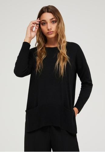 Sisley black Sweater with Pockets 2001FAA3915E8DGS_1