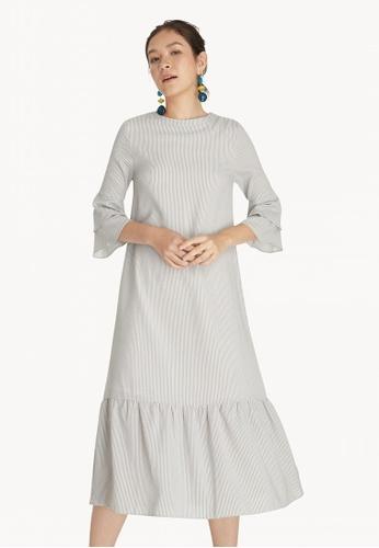 3e75002ff1a7 Pomelo grey Midi Striped Ruffle Flare Dress - Light Grey 7BDAAAAF5AC064GS 1