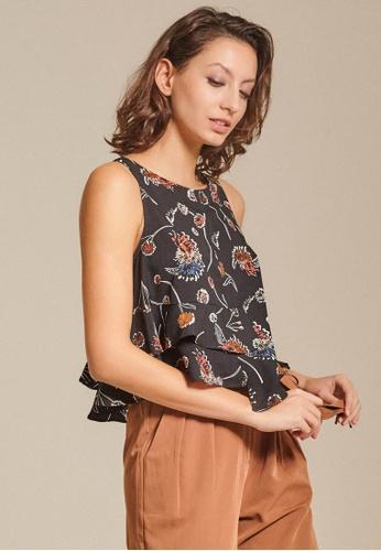 Dressing Paula black Tiered Printed Crepe Top C7F86AA976999BGS_1