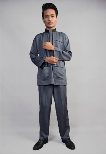 Denai Boutique grey Baju Melayu Salahuddin 600E2AA372B90CGS_1