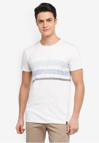 Indicode Jeans 白色 短袖撞色條紋T恤 5F72AAA4AA4EDAGS_1