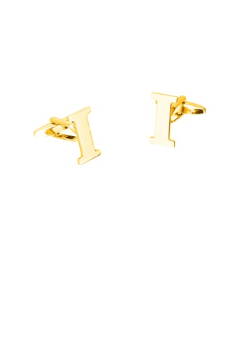 Glamorousky silver Simple Personality Plated Gold English Alphabet I Cufflinks 4C5C1AC6E27BA1GS_1
