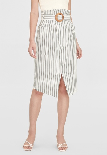 Pomelo green Striped Front Slit Skirt - Green 70507AA7968321GS_1