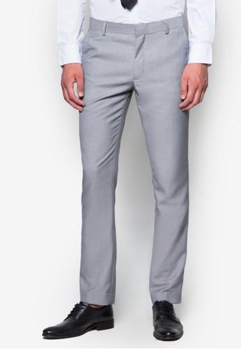 暗紋窄管西裝長褲esprit台灣outlet, 服飾, 貼身版型
