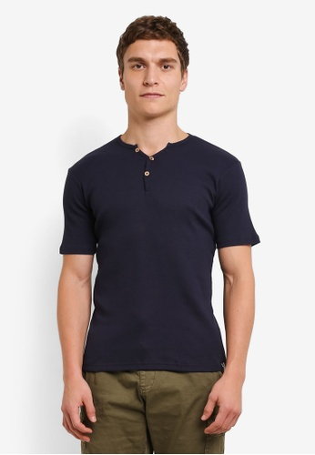 Indicode Jeans navy Emanuel Ribbed Grandad T-Shirt IN815AA0ROMAMY_1