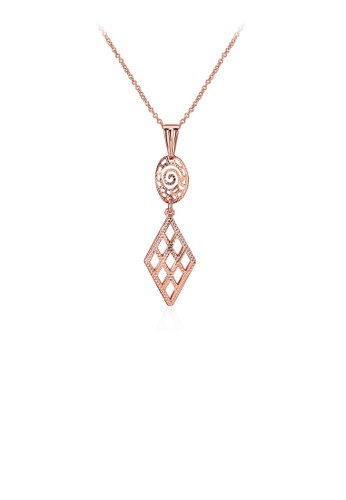 Glamorousky silver Plated Rose Gold Geometric Skeleton Pendant with Necklace 7935EAC1691BC4GS_1