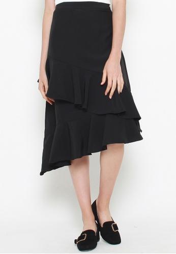 QLOTHE black Carroll Asymmetric Ruffle Skirt 981B9AA3C42B31GS_1