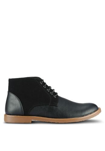 UniqTee black Textured Lace Up Ankle Boots UN097SH0RS4ZMY_1