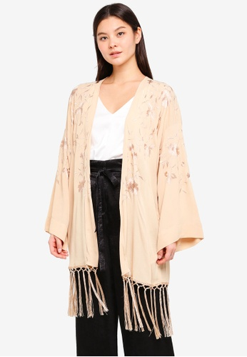 Miss Selfridge gold Gold Embroidered Tassel Kimono 0F9D2AA9105A38GS_1