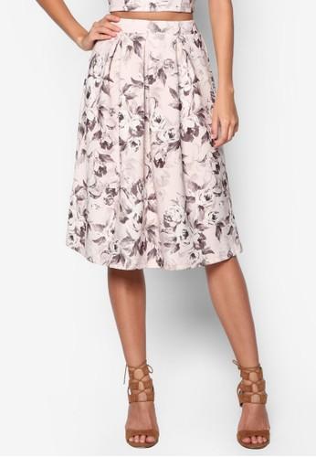 花卉esprit官網傘擺及膝裙, 服飾, 裙子