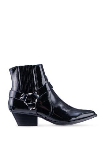 River Island black Sheriff Western Buckle Boots CF4C0SH49EB8EEGS_1