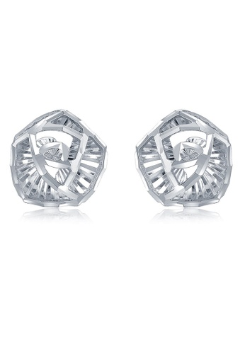MaBelle silver 14K 585 White Gold Diamond Cut 3D Rose Stud Earrings 281B5AC8CB037CGS_1