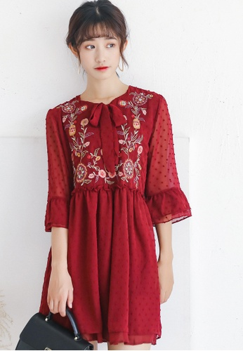Shopsfashion red Vintage Style Flare Dress with Floral Embroidery SH656AA0G4VWSG_1