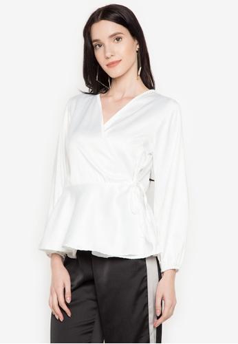 Hug white Wrap Mock Sleeves Top HU902AA0JUOBPH_1