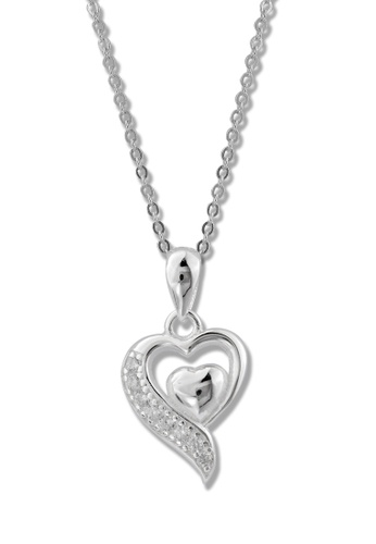 SC Tom Silver silver Heart Stone Pendant with Chain-TPS125 SC872AC75MBSPH_1