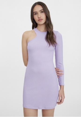 Pomelo purple One Shoulder Rib Fitted Dress - Purple EF50EAA85EE786GS_1