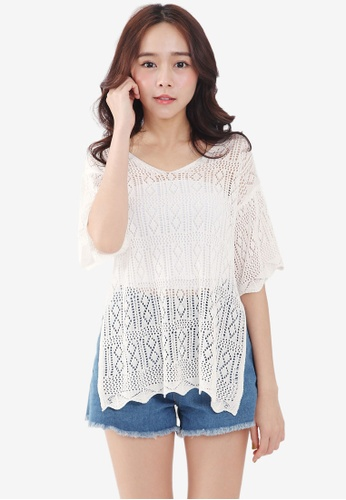 Tokichoi white Embroidered Insert Blouse BD4E9AA1C67F0BGS_1