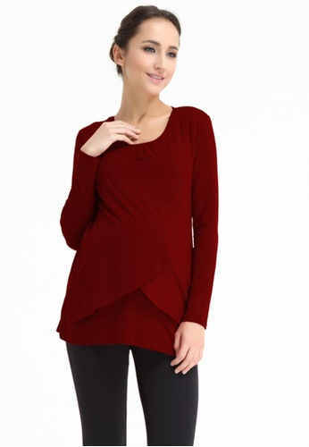 Bove by Spring Maternity red Knitted Long Sleeve Vina Flap Top Maroon LTN3006 BO010AA0FTS4SG_1