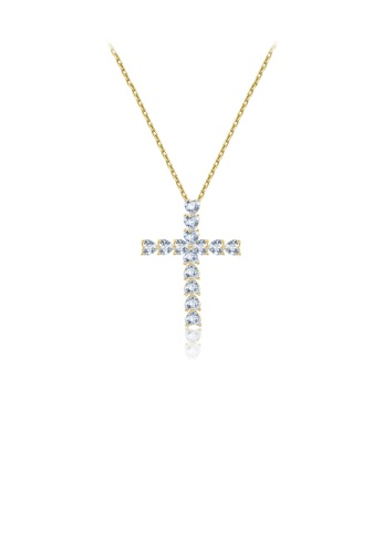 Glamorousky white Fashion Simple Plated Gold Cross Pendant with Cubic Zirconia and Necklace 22C8FACCC12F4FGS_1