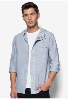 Mixed Material Hooded Long Sleeve Shirt