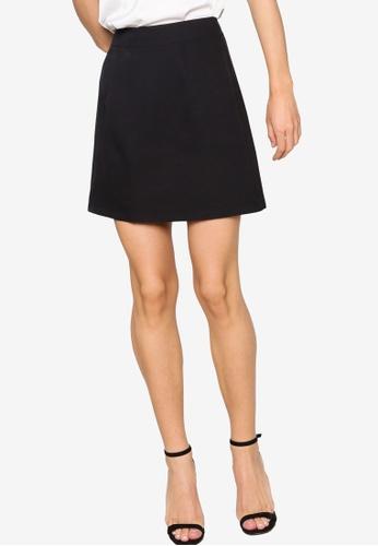 ZALORA WORK 黑色 A-line Mini Skirt A1B8BAAF77E707GS_1