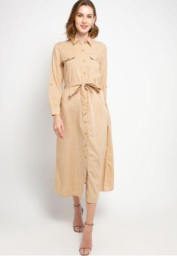 SIMPLICITY yellow Stripe Button Maxi Dress 169D3AACBBD440GS_1