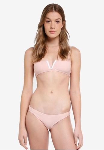 South Beach pink Pink V Wire Bralette Bikini With White Contrast Bind EE10AUS14B470EGS_1