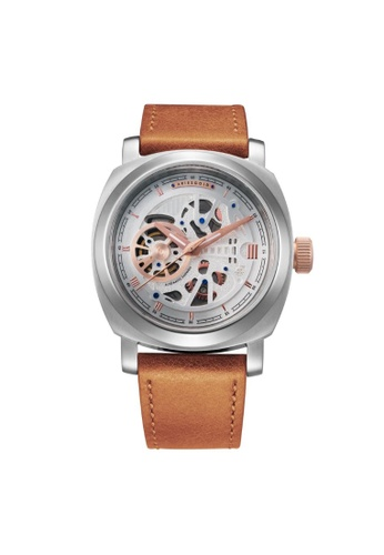 Aries Gold brown Aries Gold Vanguard G 9025 SRG-SRG Silver and Brown Leather Watch 14B23AC2D4B606GS_1