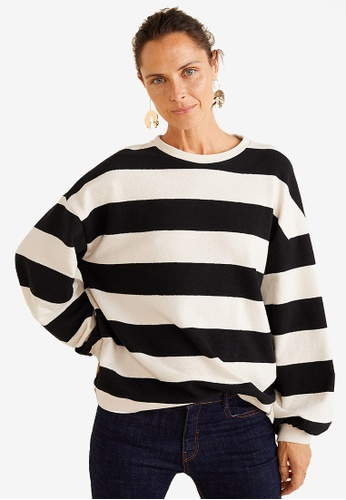 Mango black Striped Cotton-Blend Sweatshirt F4DE4AA6C12685GS_1