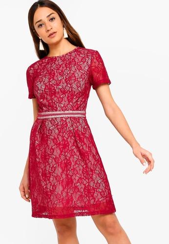 ZALORA red Flare Sleeves Lace Dress D9B85AA4F552E2GS_1
