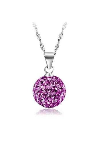 YOUNIQ purple YOUNIQ Korean Fashion 925S Silver Swarovski Purple Elements Necklace YO999AC75DBCMY_1